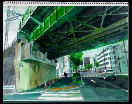水彩画・田無1丁目ガード下 ©大貫伸樹 (禁無断転載 クリックで拡大)