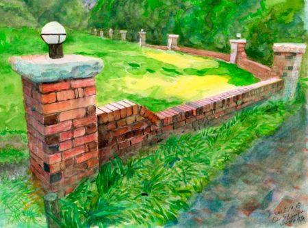 水彩画・レンガの塀©大貫伸樹 (禁無断転載 クリックで拡大)