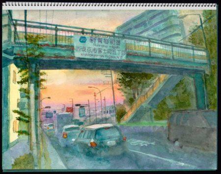 水彩画・たそがれの横断歩道橋 ©大貫伸樹 (禁無断転載 クリックで拡大)
