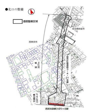 ひばりヶ丘駅北口の道路整備図
