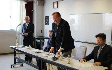 再選出馬を表明した丸山浩西東京市長(市民会館)