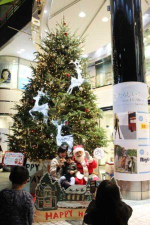 クリスマスツリーのイルミネーションを背に撮影(パルコひばりが丘店前)